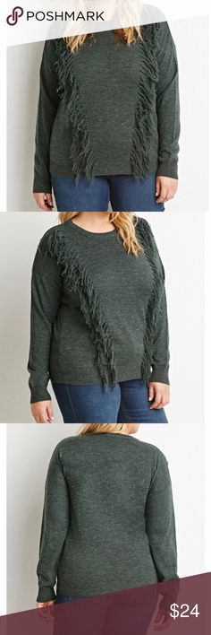 NWT: Plus Size Hunter Green Sweater with Tassels Sweater still in plastic. Never worn. Hunter Green (1 XL) Forever Plus Sweaters Crew & Scoop Necks