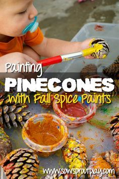 Sensory Play – Painting Pinecones with Spice Paints  #fall #homeschool #artforpreschoolers