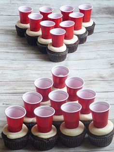 What a cool idea for a cake! Add mini solo cups to the top of cupcakes to create. What a cool idea for a cake! Add mini solo cups to the top of cupcakes to create beer pong cupcakes Birthday Cakes For Men, 21st Birthday Cupcakes, Guys 21st Birthday, 21st Bday Ideas, 21st Cake, Birthday Desserts, Pig Birthday, Birthday Table, Birthday Brunch