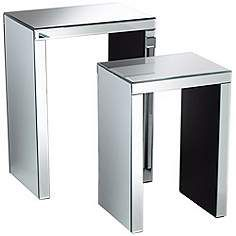 Set of 2 Mirrored Modern Nesting Tables