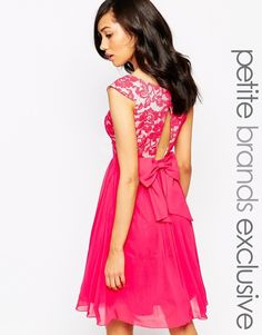Little Mistress Petite Bardot Lace Prom Dress With Bow Detail