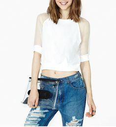 9c9283b6d5a0c Shop White Sheer Mesh Half Sleeve Crop T-Shirt online. SheIn offers White  Sheer Mesh Half Sleeve Crop T-Shirt   more to fit your fashionable needs.