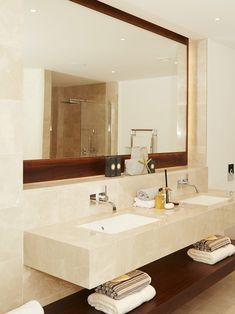 Windsor bathroom 2 - St James Interiors - Crema classic marble, walnut vanity and mirror frame. Saint James, Windsor, Bathrooms, Vanity, Mirror, Luxury, Marble, Interiors, Furniture