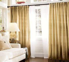 moderne Vorhänge dunkel gelb Wohnzimmer