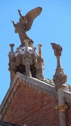 Angels atop the Hospital de Sant Pau, Barcelona Catalonia