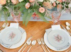 peach colored tablescape