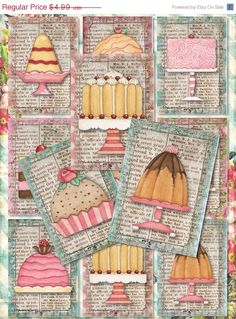 On Sale Set of 9 Sweet ATC DeSSert, CaKe, baKEry BaCKGRouND PaPeRs ViNTaGe DiGiTaL CoLLaGe sHeeT aLTeReD HaNg TaGs BooK SCRaPBooKiNg SuPPLie