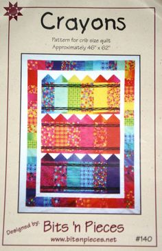 Colorful Baby Quilt Pattern- I think this pattern would be great for a kids card. Plus  a great way to use up scraps!