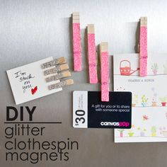 Glam Up Memos With Glittered Clothespin Magnets