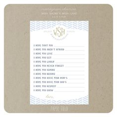 Monogram baby shower invitation 1500 via etsy paper play monogram baby shower wish card printable pdf file by paperfield 1400 filmwisefo