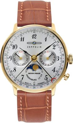 Zeppelin Watch Hindenburg #bezel-fixed #bracelet-strap-leather #brand-zeppelin #case-depth-10mm #case-material-yellow-gold-pvd #case-width-36mm #classic #date-yes #day-yes #delivery-timescale-call-us #dial-colour-silver #gender-mens #moon-phase-yes #movement-quartz-battery #official-stockist-for-zeppelin-watches #packaging-zeppelin-watch-packaging #style-dress #subcat-hindenburg #supplier-model-no-7039-1 #warranty-zeppelin-official-2-year-guarantee #water-resistant-30m