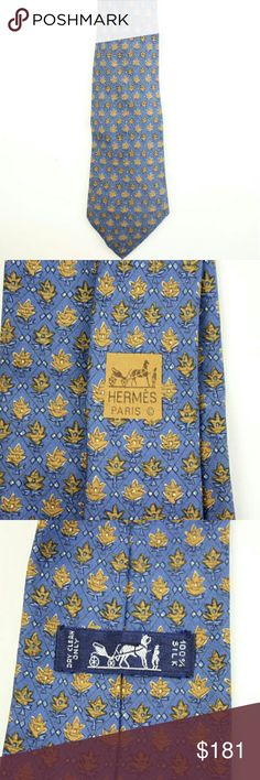 """Tie HEJY7 Blue This item will ship immediately!!  Previously owned.  Date Code: 7072 TA  Made In: France  Measurements: Length: 58.5"""" Width: 3.75""""   Signs of Wear: Tie shows wrinkles and light to no wear.  This item does not come with any other extra accessories.  Please review measurements and photos to see if this is the perfect item for you. Hermes Other"""