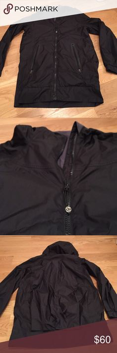 Lululemon size 4 rain jacket Lululemon black rain jacket in great used condition! No stains or tears- only some pilling on inside of jacket in the lining (see last pic). Jacket is long and comes to about mid thigh with a fitted band at the bottom. Hood is not detachable. NO TRADES! please make offers through the offer button :) lululemon athletica Jackets & Coats