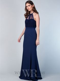 A stunning full length dress by Samantha Rose. A high neck style featuring a lace bodice with soft tulle overlay. Navy Bridesmaids, Navy Blue Bridesmaid Dresses, Wedding Makeup Tips, Bridal Makeup, White Runway, Bridesmaid Makeup, Lace Bodice, Blue Lace, Formal Dresses