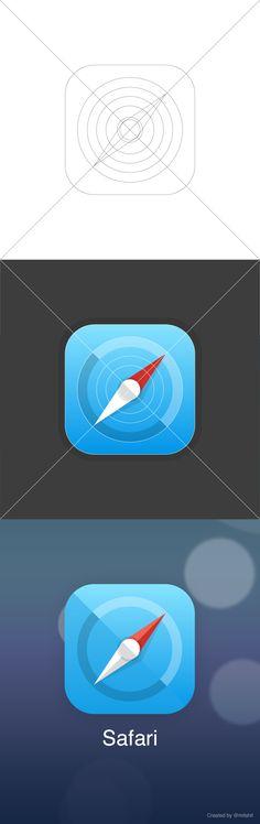 Safari iOS 7 – Icon Replacement by Samphan Sittiwantana / Flat design / #flat #design #icon