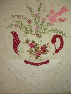 """I ❤ embroidered & beaded applique . . .  TEA Block Number 2- I got carried away with beads AGAIN for the centers of my lazy daisies!!! Now doing a wall hanging instead of a quilt. With all my embellishments, my puppy would be in heaven digging! I plan to make smaller blocks next with different teacups.    Teapot pattern from Kay Mackenzie's book, """"Teapots 2"""", flowers and bird self-designed"""
