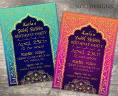 Arabian Nights Bollywood Theme Birthday Invitation Card- Printable File by NouDesigns on Etsy https://www.etsy.com/listing/520377000/arabian-nights-bollywood-theme-birthday