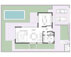 estudio3 Arquitectos | casa Pozuelo IV Contemporary House Plans, Modern House Plans, Tiny House Plans, Small Villa, Architectural Floor Plans, Villa Plan, Arch Interior, Architect House, Architecture Plan