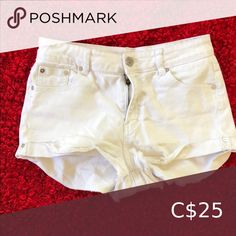 Distressed white mini shorts Distressed design and hem, hem rolled at bottom. Real pockets. High/medium rise. No stains or tears on white, worn once. Size 9 indicated on shorts but fit a typical size 6. Shorts High Waist Eyelet Shorts, Tie Waist Shorts, Flowy Shorts, Pleated Shorts, Khaki Shorts, High Waisted Shorts, Cut Jean Shorts, Cut Jeans, Camouflage Shorts