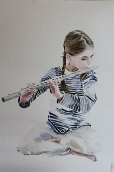 Girl with a Flute 3 by Boyana Petkova. I just bought another one 2 years ago. Music Drawings, Cool Art Drawings, Flute Drawing, Art Alevel, Shrink Art, Music Illustration, Muse Art, A Level Art, Music Images