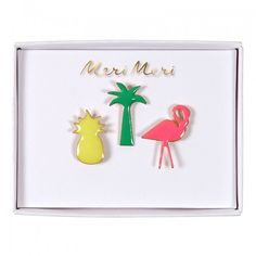 Tropical Enamel Pins - Meri Meri - Flamingo Gifts - Badges For Kids - Cool Partybag Gifts