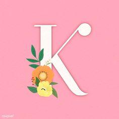 Pink elegant floral letter K vector | premium image by rawpixel.com / Aum Art Clipart, Vector Art, Letter K Design, Free Illustrations, Flower Illustrations, Floral Letters, Vintage Typography, Cute Backgrounds, Letter B