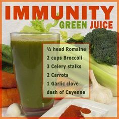 The Immunity Green Juice. Here is another great recipe to ward off diseases and help you have a cleaner, healthier immunity! #romaine #broccoli #celery #carrots #garlic #cayenne