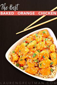 This Baked Orange Chicken Recipe is SO easy and amazingly delicious! via /iatllauren/