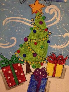 FOR SALE: $36 Dancing Christmas Jingle Tree • 16×20 on loose canvas * sparkle tool hanger by Debbi Unger