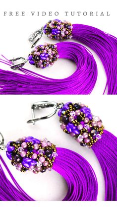 Free Video Tutorial - How to Make Beaded Tassel Earrings Easy with MiniDuo, Round Beads and Swarovski Bicones Diy Tassel Earrings, Beaded Earrings Patterns, Jewelry Making Beads, Beaded Jewelry, Beaded Bead, Jewelry Gifts, Handmade Jewelry, Diy Jewelry, Garnet Jewelry