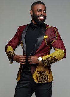 Rammy Men's African Print Blazer (Burgundy/Gold/Black) - Rammy Men's African Print Blazer Jacket (Burgundy/Gold/Black) – D'IYANU Source by - African Wear Styles For Men, African Shirts For Men, African Dresses Men, African Attire For Men, African Suits, African Style, African Women, Ankara Styles For Men, African Wedding Attire