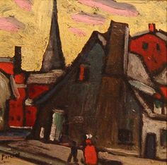 Scène de rue, Montréal (c. 1922) - Marc-Aurèle Fortin Canadian Painters, Canadian Artists, Beaver Hall, Montreal Museums, National Art, Museum Of Fine Arts, Art Studies, Watercolor Landscape, House Painting