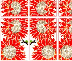 Lg orange sunflower fabric by nascustomwallcoverings at Spoonflower - custom fabric, wallpaper and wall decals