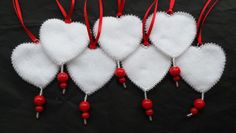 Felt Heart Decorations various colours by ZipSquid on Etsy