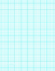 This letter-sized graph paper has five aqua blue lines every inch plus heavy index lines every inch. Free to download and print