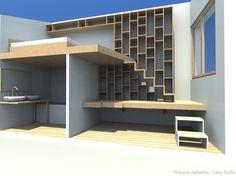 Création d'un meuble bureau/bibliothèque/escalier, Veran Emilie - Côté Maison