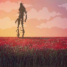 pixel art, field of red flowers