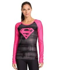 Look at this Under Armour® Black & Pink Supergirl Sonic Long-Sleeve Top on today! Under Armour Outfits, Under Armour Shirts, Supergirl, Under Armour Women, Long Sleeve Tops, Long Sleeve Shirts, Estilo Fitness, Workout Attire, Workout Gear