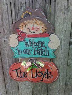 Items similar to Scarecrow door hanger.scarecrow with pumpkin door hanger. on Etsy Fall Door Hangers, Wooden Door Hangers, Fall Wood Crafts, Pumpkin Door Hanger, Fall Door Decorations, Fall Patterns, Pallet Painting, Fall Diy, Fall Halloween