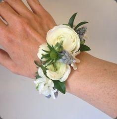 ranunculus wrist corsage cuff bracelet fresh floral bracelet www. White Corsage, Flower Corsage, Bracelet Corsage, Flower Bracelet, Prom Flowers, Small Flowers, Corsage Wedding, Wedding Bouquets, Prom Corsage