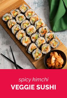 A quick and easy after work meal – spicy kimchi veggie sushi! A quick and easy after work meal – spicy kimchi veggie sushi! Veggie Sushi, Sushi Lunch, Vegetarian Recipes, Healthy Recipes, Diet Recipes, Healthy Food, Whole Food Recipes, Cooking Recipes, Homemade Sushi