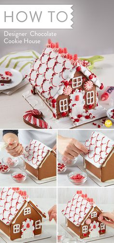 One look and you won't be able to wait to decorate this chocolate cookie house, bright with visions of peppermint colors and candy. Sharing the activity of decorating this house together makes the entire family merry! Christmas Dishes, Christmas Goodies, Christmas Candy, Christmas Treats, Christmas Baking, Christmas Time, Gingerbread House Designs, Christmas Gingerbread House, Gingerbread Houses