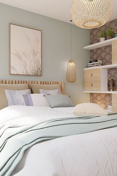 Fine Deco Chambre Inspiration Bord De Mer that you must know, You?re in good company if you?re looking for Deco Chambre Inspiration Bord De Mer Bedroom Green, Green Rooms, Small Room Bedroom, Home Decor Bedroom, Bedroom Wall, Nature Bedroom, Decoracion Habitacion Ideas, Bedroom Color Schemes, Calming Bedroom Colors