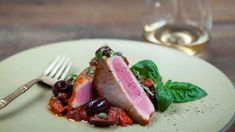 Pancetta and black olives accompany this Calabrian-style tuna dinner. Fish Recipes, Seafood Recipes, Great Recipes, Cooking Recipes, Healthy Recipes, Meatball Recipes, My Favorite Food, Favorite Recipes, Brunch Appetizers