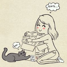 Girls love what comes in boxes and cats love the boxes, period. :3