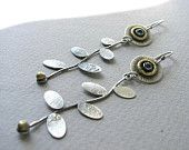 Long sterling and brass petal and bloom earrings with Swiss blue topaz