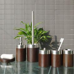 Imitation wood hotel bathroom accessories set wood color polyresin toilet brush holder