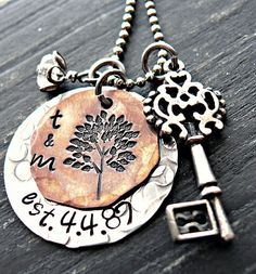 Personalized Tree Necklace  Hand Stamped by yourcharmedlife