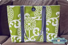 Mom-Made Sewing Shop: large tote bag with button loop closure