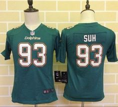nike dolphins 93 ndamukong suh aqua green team color youth stitched nfl elite jersey